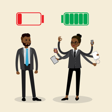 flat african american office workers