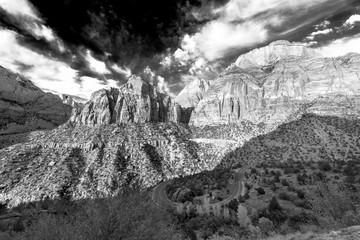 Black and white landscape of Zion National Park, Utah