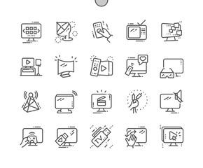 TV Well-crafted Pixel Perfect Vector Thin Line Icons 30 2x Grid for Web Graphics and Apps. Simple Minimal Pictogram