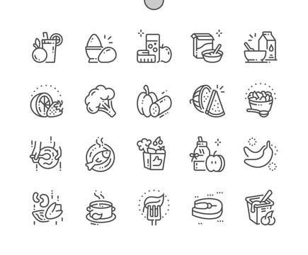 Healthy food Well-crafted Pixel Perfect Vector Thin Line Icons 30 2x Grid for Web Graphics and Apps. Simple Minimal Pictogram