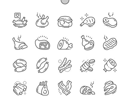 Meat Well-crafted Pixel Perfect Vector Thin Line Icons 30 2x Grid for Web Graphics and Apps. Simple Minimal Pictogram