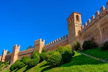 castle walls background copyspace - Gradara - Pesaro - Italy