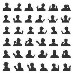 Set of Men's face silhouettes