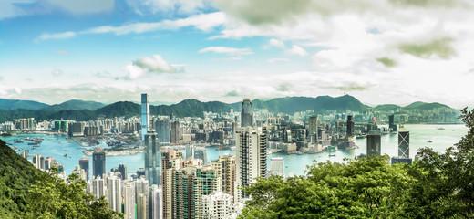 Wall Mural - Panorama view of Hong Kong city from Victoria Peak.