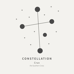 The Constellation Of Crux. The Southern Cross - linear icon. Vector illustration of the concept of astronomy.