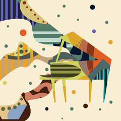 piano art vector illustration