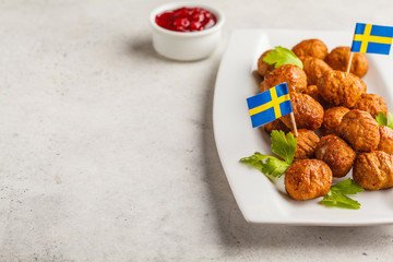 Swedish traditional meatballs on white plate. Swedish food concept.