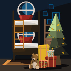 Christmas bedroom vector illustration