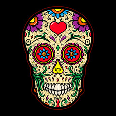 Illustration of mexican sugar skull isolated on black background. Design element for poster, card, t shirt.