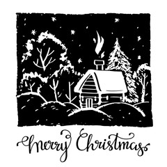 Christmas card. Woodcut
