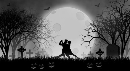 Halloween lover dance before full moon in creepy forest