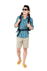 Handsome young Asian man tourist backpacker on white background