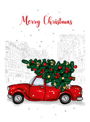 A beautiful Christmas tree in the vector. Illustration for a card or poster. New Year's and Christmas. Taxi, car.