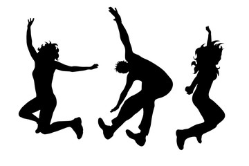 Vector silhouette of people who jumps on white background.