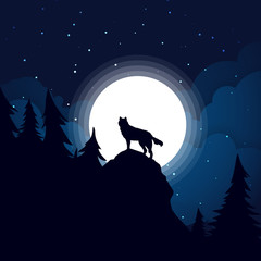 Black wolf Silhouette the background of the full moon.