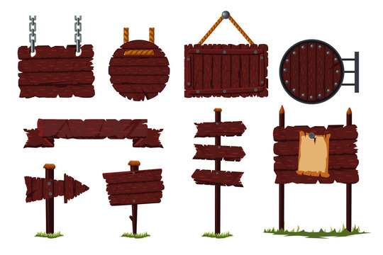 Cartoon wooden sign set with wood board and signpost. Isolated vector icon set. Game design concept.