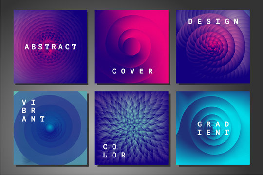 Cover set with abstract backgrounds. Vector geometry patterns with vibrant color gradient. Colorful vortex and spiral.