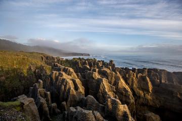 Punakaiki Pancake Rocks sunset New Zealand