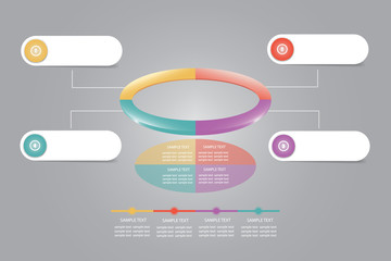 Infographic of colorful ellipse divided into 4 parts showing process and steps. White labels around are ready for your text. All is on the gray gradient background.