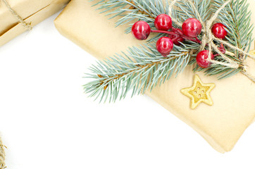 Gift boxes for Christmas and New Year are on a white background