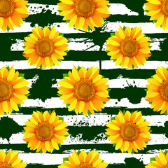 Seamless pattern with sunflowers on abstract green stripes and blots background vector