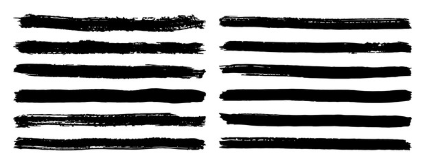 Black and white stripes set isolated on white background vector