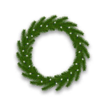 Christmas wreath with lights garland. Fir tree Xmas decoration with lights