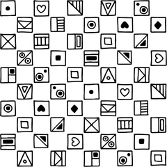 Seamless vector pattern, black and white background with different hand drawn symbols, decorative doodle squares. Symmetrical cute ornament for decoration fabric, wallpaper, prints. Graphic design