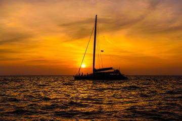 Sail boat in sunset, Phi Phi Leh islands, Andaman sea, Krabi, Th