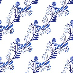 Seamless pattern. Flower background with leaves in the style of national ceramic painting.