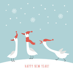Three cute geese in red hats and scarves in winter, vector illustration, christmas and new year card