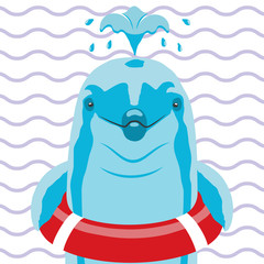 Dolphin with lifebuoy on a striped background