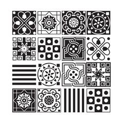 Set of monochrome geometric ornaments