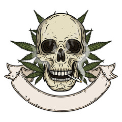 Skull. Rastaman skull with cannabis leafs and ribbon for your text.