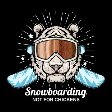 Tiger in ski goggles and crossed snowboard.