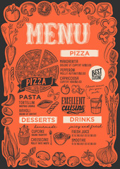 Pizza menu for restaurant with frame of graphic vegetables.