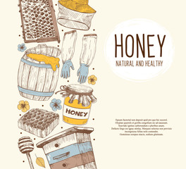 Hand drawn apiary objects arranged in vertical composition. Beekeeping inventory in sketch style. Vector Illustration.