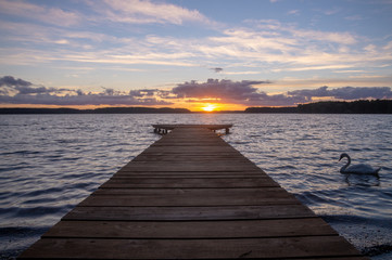 sunset on the lake-lake Drawsko, Poland