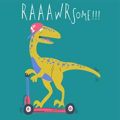 Hand drawn cute dinosaur vector design for t shirt printing