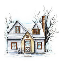 Winter old house, cottage with trees in the snow. Watercolor hand drawn illustration