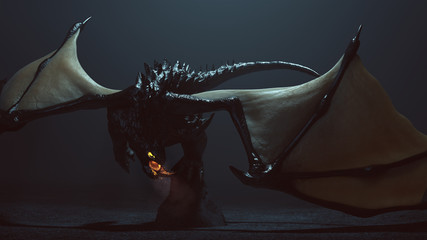 Large Winged Black Dragon with Glowing Eyes and Breathing Smoke and Embers 3d illustration 3d render