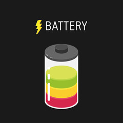 Vector battery illustration with three segments - red, yellow and green