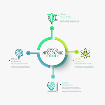 Minimalistic infographic design layout. Central round element connected with four colorful icons and text boxes. Goals of scientific research concept. Vector illustration for report, presentation.