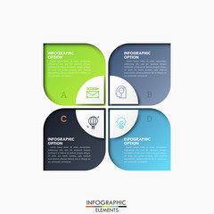 Four lettered rectangular elements and circle divided into 4 sectors in center, thin line icons and text boxes. Features of business process concept. Infographic design layout. Vector illustration.