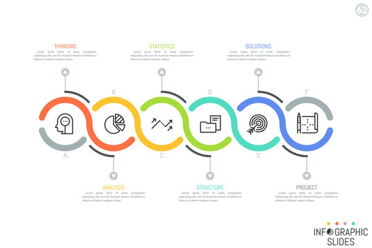 Six successively connected lettered round elements, icons and text boxes. Horizontal diagram. Simple infographic design layout. Vector illustration for presentation, website, corporate report, banner.