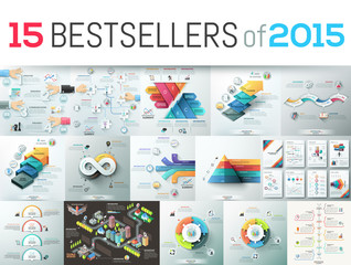 Fototapeta Huge collection of 15 creative infographic business design templates, bestsellers of 2015, elements for graphs, diagrams, schemes. Vector illustration for website, report, presentation, brochure. obraz