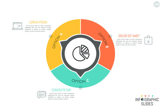 Round diagram divided into 3 lettered parts with arrows pointing at text boxes and thin line icons. Simple infographic design layout. Three options of company development concept. Vector illustration.