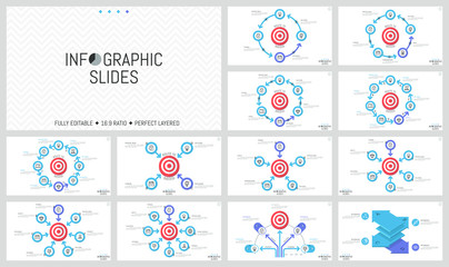 Bundle of minimalist infographic design layouts. Round elements with arrows placed around shooting target, goal achievement concept. Vector illustration for presentation, brochure, report, website.