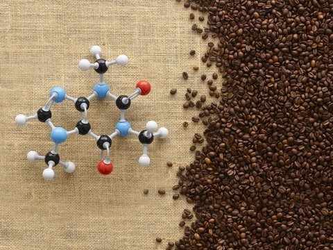 Coffee beans and molecular model