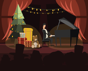 piano in Christmas vector illustration